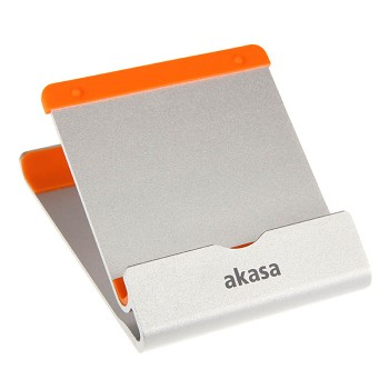 Akasa Scorpio aluminium and orange tablet stand with two viewing angles