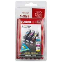 Canon cli-521 c/m/y inktcartridge cyaan, magenta en geel standard capacity 3 x 9ml combopack blister met alarm