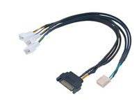Akasa smart pwm cable for 3pwm case fans and coolers, sata power (flexa fp3s, black braided), *FANM, *MBM, *FANF