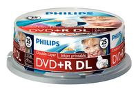 PHILIPS DVD+R 8,5GB 8X DL WHITE INKJET PRINT. CAKE*25 DR8I8B25F/00, multipack