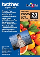 BROTHER Papier Glossy Photo A6 20 sheets - BP71GP20 - 260 g/qm, 102x152mm for 195C,J140W,J315W J525W,J4410DW,J4510DW,J5910DW,J6510DW