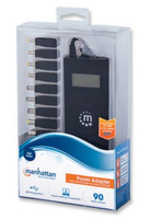 Manhattan Universal Notebook Power Adapter automatic adjustable voltage, 7 output levels, 9 tips, 90 w, usb, lcd