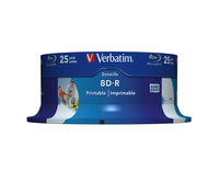 VERBATIM BD-R BLU-RAY 25GB 6X WIDE PRINTABLE CAKE*25 43811, multipack