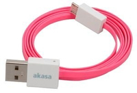 Akasa PROSLIM USB 2.0 Cable , (Pink, Superslim, sync & charge) USB A - Micro USB B , 1m , *USBAM , *MUSBBM