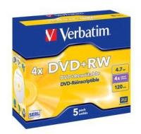 Verbatim dvd+rw 120 min. / 4.7gb 4x 5-pack jewelcase datalife plus, scratch resistant surface