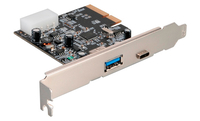 Akasa USB 3.1 Host PCIe3.0 Card, Type-C (max 3A, 5v) x 1 , Type-A (max 900mA, 5V)x 1, Low Profile support bracket included.