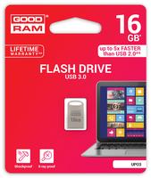 GOODRAM USB3.1 Flash Drive, 16 GB, UPO3, USB A connector, compact metal, 60/20 MB/s (USB3/2/1.1 comp)