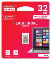 GOODRAM USB3.1 Flash Drive, 32 GB, UPO3, USB A connector, compact metal, 60/20 MB/s (USB3/2/1.1 comp)