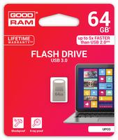 GOODRAM USB3.1 Flash Drive, 64 GB, UPO3, USB A connector, compact metal, 60/20 MB/s (USB3/2/1.1 comp)