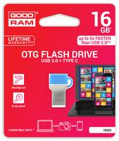 GOODRAM USB3.1 Flash Drive, 16 GB, ODD3, USB A and C connector, Compact, 60/20 MB/s (USB3/2/1.1 comp)