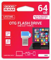 GOODRAM USB3.1 Flash Drive, 64 GB, ODD3, USB A and C connector, Compact, 60/20 MB/s (USB3/2/1.1 comp)