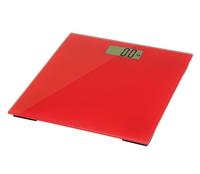 Omega Personenweegschaal, 28x26 cm, 6mm gehard glas, max 180kg, 1x CR2032 (ingebegrepen) auto power on/off 51x25mm LCD digits - rood