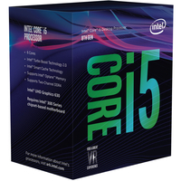 Intel Core i5-8400, 6C/6T, 2,8/4,0 GHz, 9 MB, 65 W, S1151, UHD Graphics 630, 350/1050 Boxed