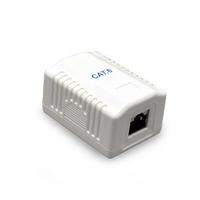 Gembird CAT6 FTP LAN-opbouwdoos, 1-poorts (kan ook CAT5E en UTP kabel in), met schroeven en zelfklevende tape. Keystone Jack