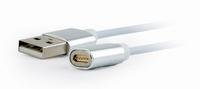 Gembird Magnetic USB charging combo 3-in-1: lightning, micro-USB, USB-C kabel, silver, 1 m, *USBAM, *USBCM, *LIGHTNINGM, *MUSBBM