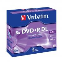 Verbatim dual layer dvd+r 240 min. / 9.4gb 8x 5-pack jewelcase scratch resistant surface