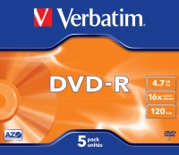 Verbatim dvd-r 120 min. / 4.7gb 16x 5-pack jewelcase datalife plus, scratch resistant surface