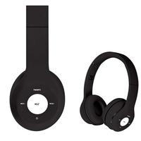 Freestyle foldable Bluetooth Headset (BT 5.0, microSD slot, Line-in, FM radio) met microfoon en USB laadkabel, 100u stdby/8u play) 150gram - Zwart