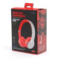 Freestyle foldable Bluetooth Headset (BT 5.0, microSD slot, Line-in, FM radio) met microfoon en USB laadkabel, 100u stdby/8u play) 150gram - Grijs/Rood
