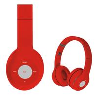 Freestyle foldable Bluetooth Headset (BT 5.0, microSD slot, Line-in, FM radio) met microfoon en USB laadkabel, 100u stdby/8u play) 150gram - Rood