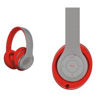 Freestyle FH0916GR Bluetooth Headset (BT 5.0, microSD slot, Line-in, FM radio) met microfoon en USB laadkabel, 100u stdby/8u play) 150gram - Grijs/Rood