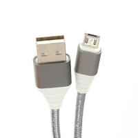 OMEGA FABRIC BRAIDED MICRO USB TO USB 2A 118 COPPER 1M GREY [44259, *MUSBM, *USBAM