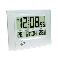 Platinet digitale klok, wekker, datumfunctie, inclusief temperatuur meter en geheugen, snooze functie met backlight, exclusief 2 AAA batterijen 19cmx25cm