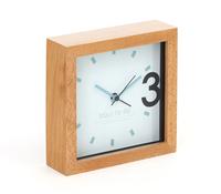 Platinet klok April, houten frame, 13cm x 13cm x 4cm, inclusief AA batterij