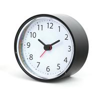 Platinet simpele klok, grote nummers, inclusief batterij, plastic, 9cm diameter, zwart