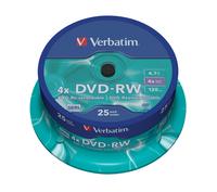 Verbatim dvd-rw 120 min. / 4.7gb 4x 25-pack spindel datalife plus, scratch resistant surface