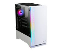 Zalman S5 White ATX Mid-Tower Case / - Combination of white case & RGB LED light in front / Front: 1x 120mm fan, Rear: 1x 120mm RGB fan / Tempered glass on left side / Support 240mm AIO Water Cooler (Top & Side) / AIO Water Cooler Guide for vertical inst