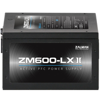 Zalman ZM600-LXII, Efficiency(Max 84%), Active PFC / - OVP / OPP / SCP / OTP / - Sleeving Cables / - 120mm Silent Sleeve Bearing Fan / - Hyper Fan Controller