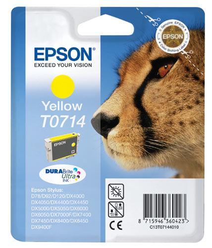 Epson t0714 inktcartridge geel standard capacity 5.5ml 1-pack blister zonder alarm